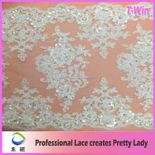 Sequin silver corded beaded embroidery lace for wholesale