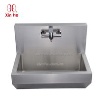 Commercial Wall Hung hospital Stainless Steel hand Washing Trough medical surgical scrub sink with sensor taps