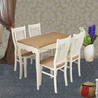 Wholesale Furniture China Cream Large Wooden Dining Table and 4 chairs