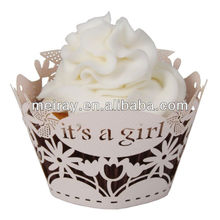2013 new product it's a girl cupcake wrapper cake decorations for baptism