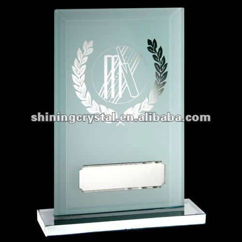Flat Glass Plaque with White Backed Crystal Cricket Trophy Award