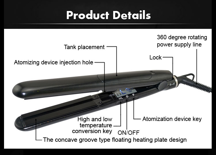 Dongguan Hair Tool Equipment New Hair Styling Iron Steam Vapor Mist Flat Iron
