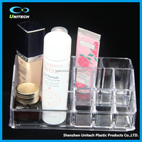 Clear makeup case organizer PS/acrylic jewelry cosmetic display box