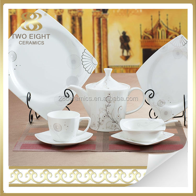 Bone china decal modern square western silver dinner set