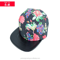 wholesale customize high quality snapback flat leather brim 5 panel caps