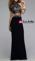 Ladies sexy two piece lace up back halter neck prom dress pattern evening dresses for party