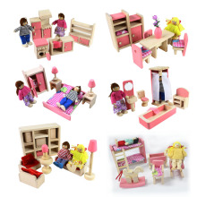 New design wooden miniature doll house furniture for kids with 6 style mixed