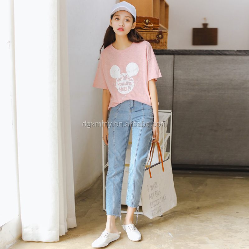 Korean style t-shirt women 2017 summer new cute off shoulder top kawaii cartoon Mickey printed bamboo cotton t-shirt female