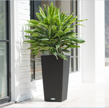 large outdoor Rattan self-watering plastic flower pot