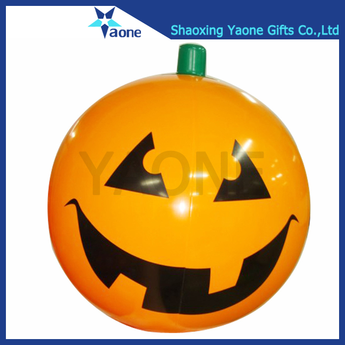 Custom PVC inflatable halloween pumpkin beach ball toys