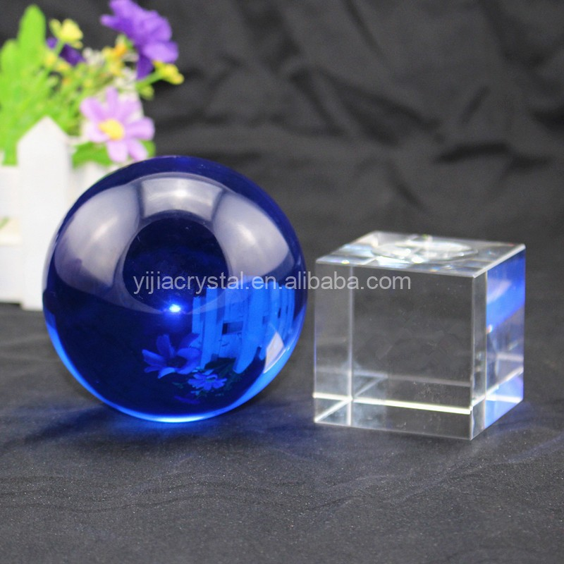 Home Decorations Blue Colored Crystal Glass Ball with Clear Base for Sale