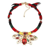 New Arrival Vintage Handmade Rope Dragonfly Style Statement Necklaces Choker Necklace 2190