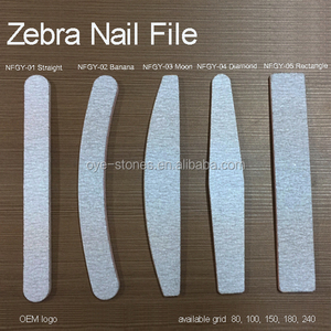 Factory direct sales custom printed nail file with logo eva zebra,80 100 180 240 grid professional disposable zebra nail file
