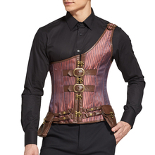 Wholesale Men Brown One Shoulder 8 Steel Boned Lace Top Locking Corset