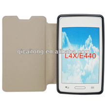flip cover tpu+pu leather case for LG optimus L4x E440