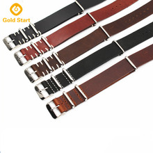 Handmade Stitching Vintage Leather Watch Straps With Stainless Steel Buckle