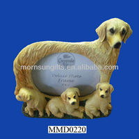 Delicate polyresin lovely dog family picture frame