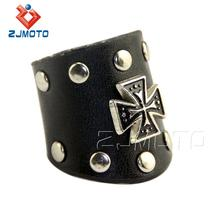 Handmade Men/Women Punk Silver Cross Stud Leather Ring Black Leather Ring Rock Gothic