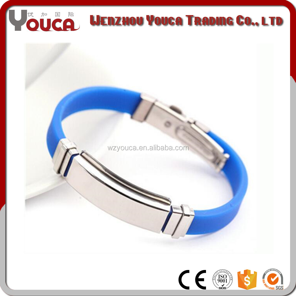 Promotion gifts bracelet , silicon and elastic stainless steel bracelet