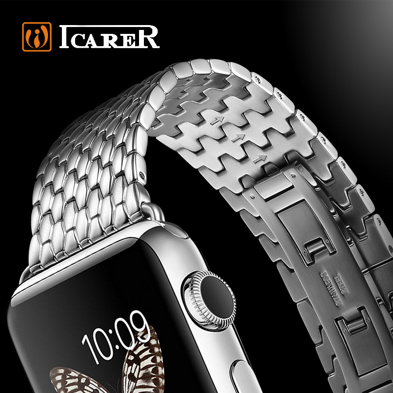 Luxury Silver Stainless Steel Band Strap For Apple Watch 38mm / 42mm Link Bracelet For iWatch With Adapter ICARER Brand
