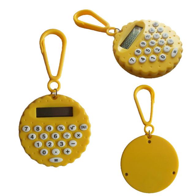 Round cookie shape mini calculator watch for kids