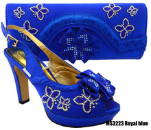 Pu crystal shoes & bag african sandals and bags matching shoe set