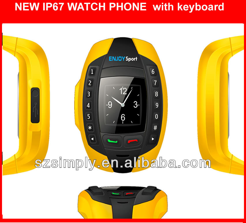 IP67 2013 cheapest wrist watch phone with BT single sim
