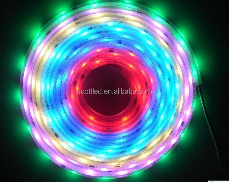 Smart RGB pixel led light strip, DC12V, 30leds/10 chips, 3leds and 1 chip per cut, outdoor rated, white PCB