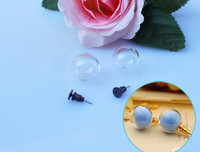 16MM Glass Globe Earrings With Earring Pad(Sold In Per Pairs)