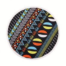 Cotton terry velour Large Circle Round Beach Towel , Reactive Printing Round Beach Towel