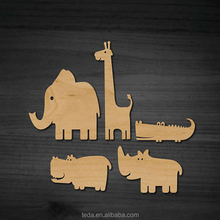 Wood carving laser cut animal shapes children's toy