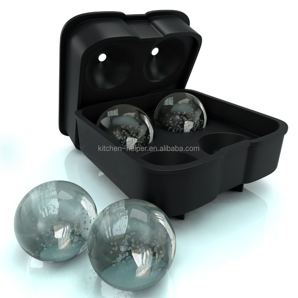 Amazon Hot Selling Round Whiskey Ice Balls Maker 4 Large Sphere Molds for Cocktails