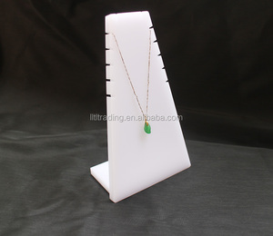 Customize pitched popular jewelry display counter 10mm white display for jewelry ornaments necklace jewelry display stand
