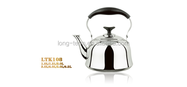 LTK108 2017 Hot Sale Stainless Steel Tea Kettle with black handle