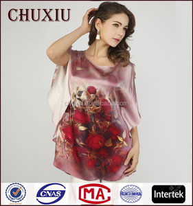 CX8032 series Trushow red wrap satin silk blouses in stock