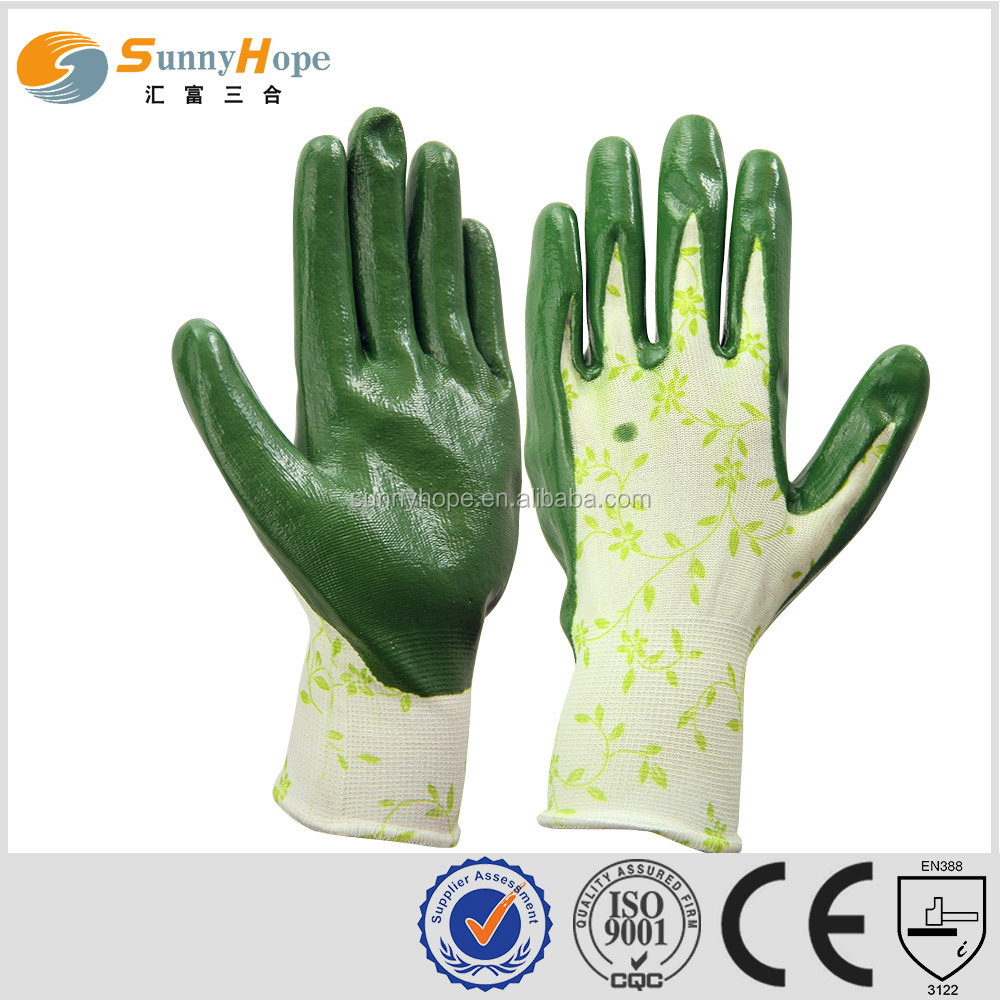 sunnyhope very safety pattern nitrile nylon gloves