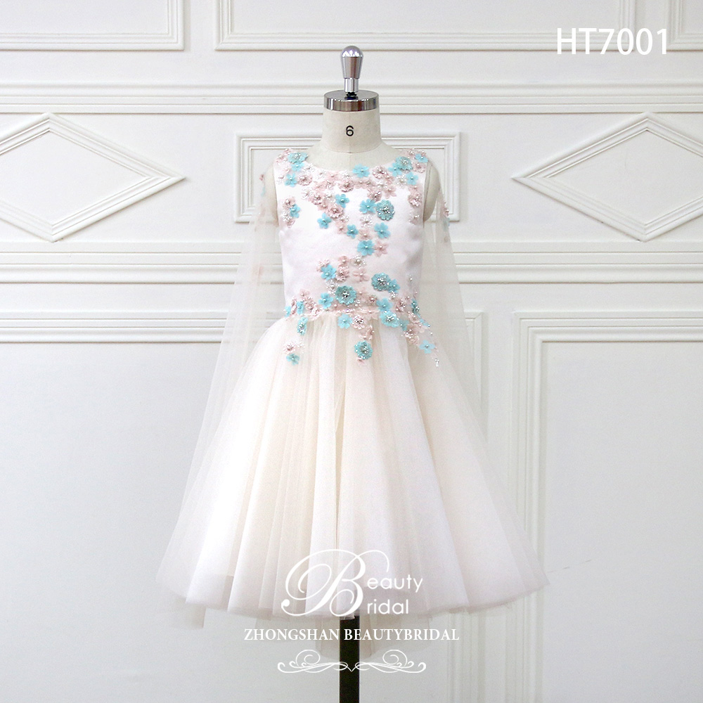 2018 newest design A line pattern flower girl dress with pretty 3D lace flower for wedding