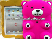 For iPad 2 3D bear silicone case ,for ipad 3 Smart cover