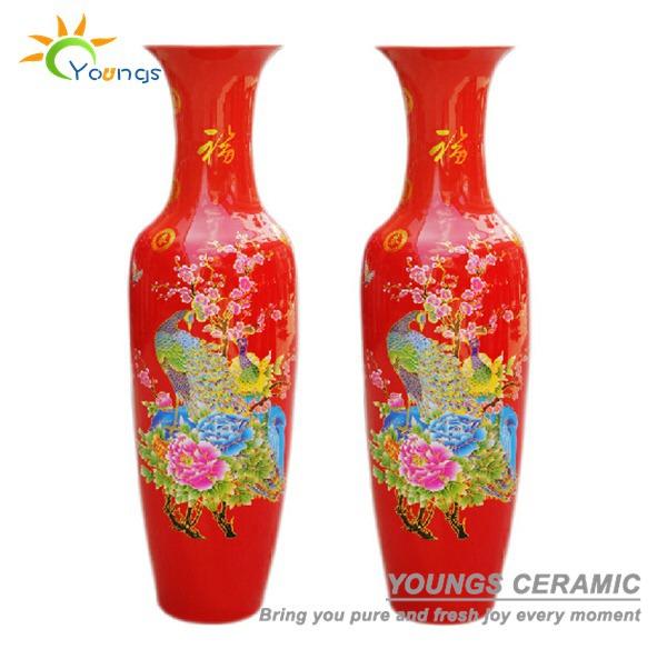 Oriental Ceramic Yellow Red Tall Decorative Floor Vases