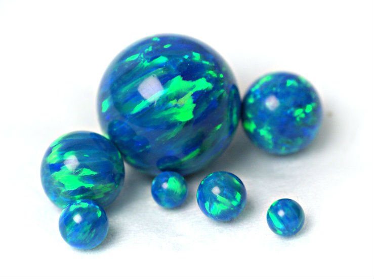 OP36 Blue Green Lab Created Opal Beads, Synthetic Opal Beads, Opal Ball