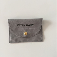 Fashion custom grey suede jewelry pouch/velvet jewelry bag with logo
