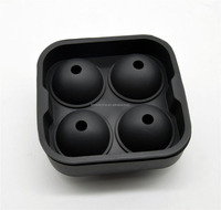 BPA Free Black Silicone 4 Spheres Ice Ball Maker Mold for Whiskey Drinks