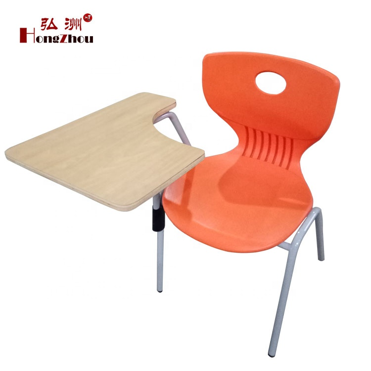 School plastic kids student chairs with writing tablet and book basket