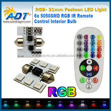 Remote Control Car Interior RGB LED Car Dome Reading Light DC 12V 31mm SMD 5050 Super Bright Lamp Bulb Auto Interior Lamps