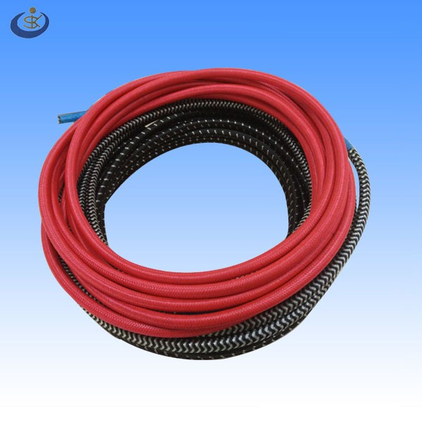 VDE approval textile braided CEE7/7 European power supply Schuko cord plug with stripped and tinned ends