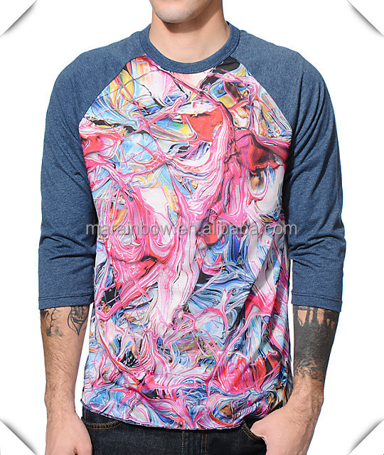 Sublimated Baseball T shirts Custom All over Printed Mens Raglan 3/4 Sleeve Baseball Tee Wholesale