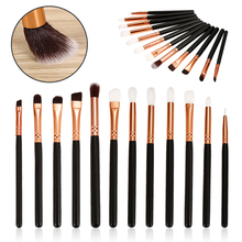 Wholesale Mini 12pcs Pencil eyeliner makeup Pink Golden eyeshadow blending brush