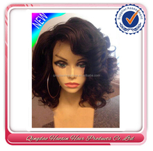 100% remy human hair Short Curly wave Fashion bob full lace wigs/lace front wigs