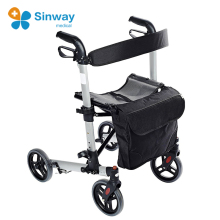 Aluminum 4 Wheel Elderly Walker And Rollator With Wheels