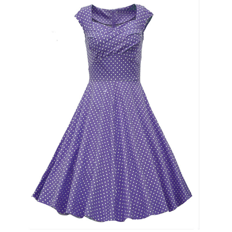 wholesale onen clothes Sleeveless Polka Dots Short 50s Style Dress Cotton Formal Vintage prom Dresses